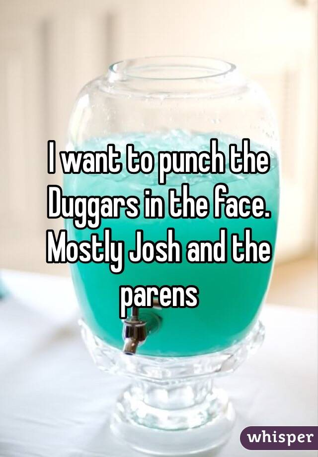 I want to punch the Duggars in the face. Mostly Josh and the parens