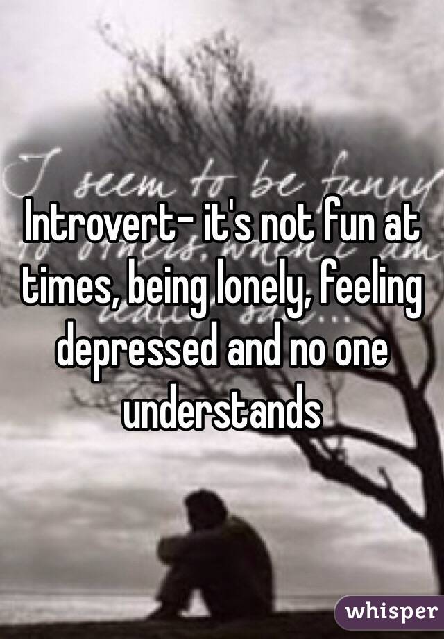Introvert- it's not fun at times, being lonely, feeling depressed and no one understands
