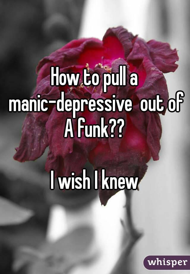How to pull a manic-depressive  out of A funk??  I wish I knew