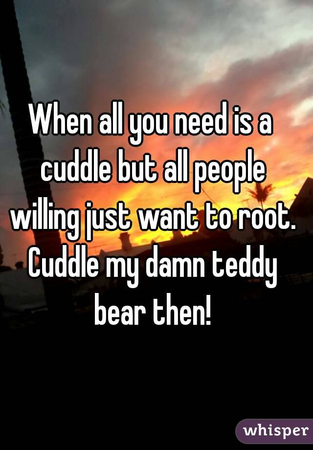 When all you need is a cuddle but all people willing just want to root. Cuddle my damn teddy bear then!