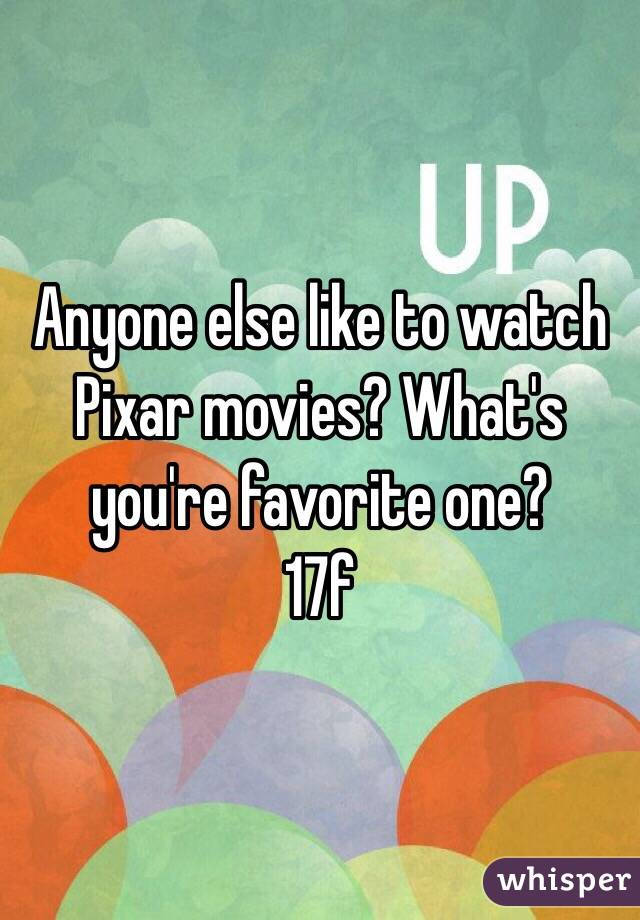 Anyone else like to watch Pixar movies? What's you're favorite one? 17f