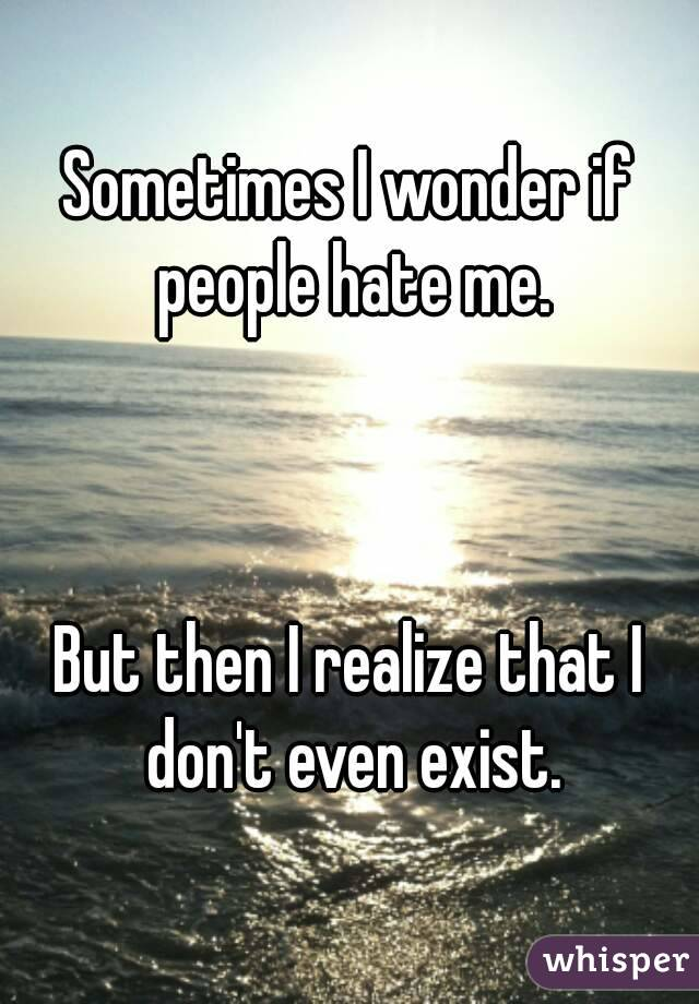 Sometimes I wonder if people hate me.    But then I realize that I don't even exist.