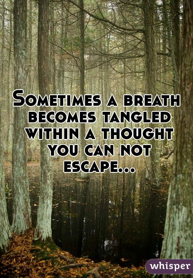Sometimes a breath becomes tangled within a thought you can not escape...
