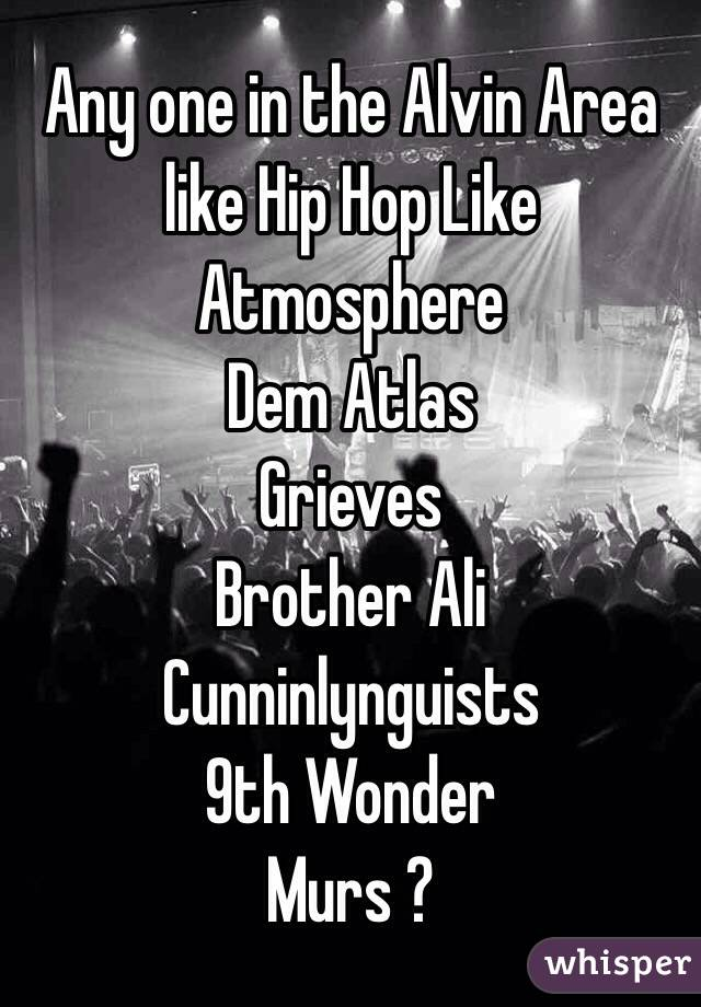 Any one in the Alvin Area like Hip Hop Like Atmosphere  Dem Atlas Grieves  Brother Ali Cunninlynguists 9th Wonder  Murs ?