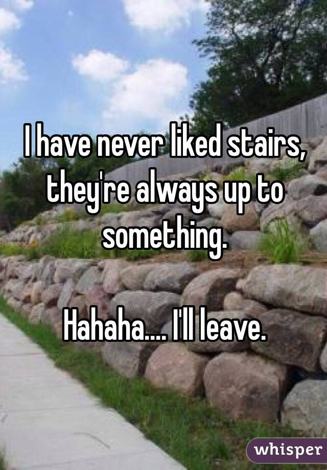 I have never liked stairs, they're always up to something.   Hahaha.... I'll leave.