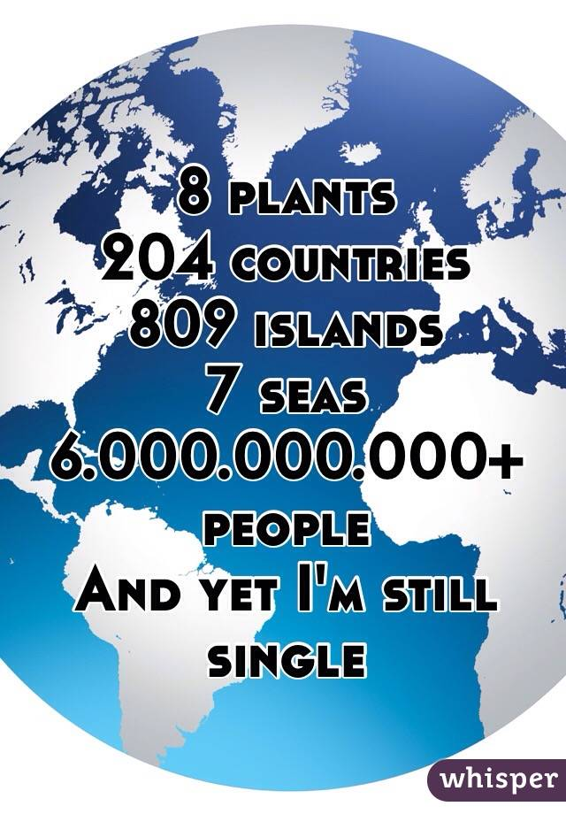 8 plants  204 countries  809 islands  7 seas 6.000.000.000+ people  And yet I'm still single