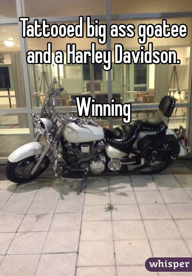 Tattooed big ass goatee and a Harley Davidson.  Winning