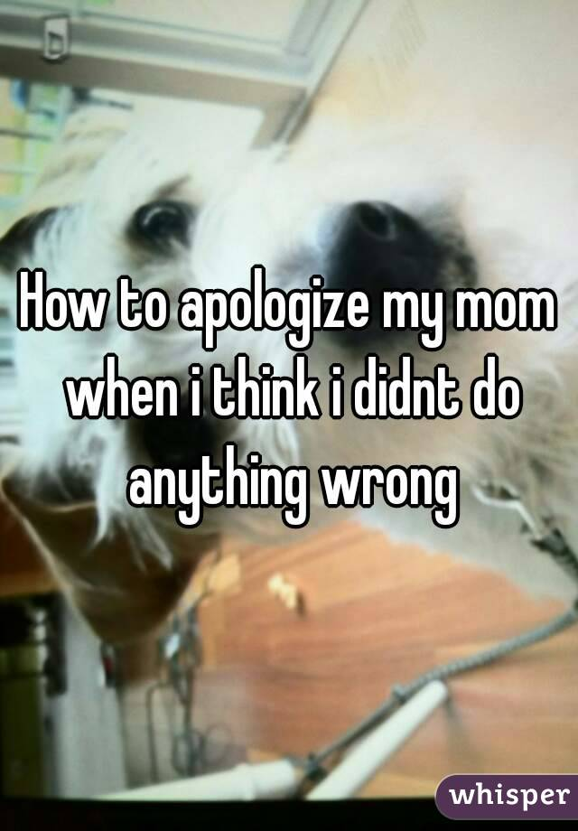How to apologize my mom when i think i didnt do anything wrong