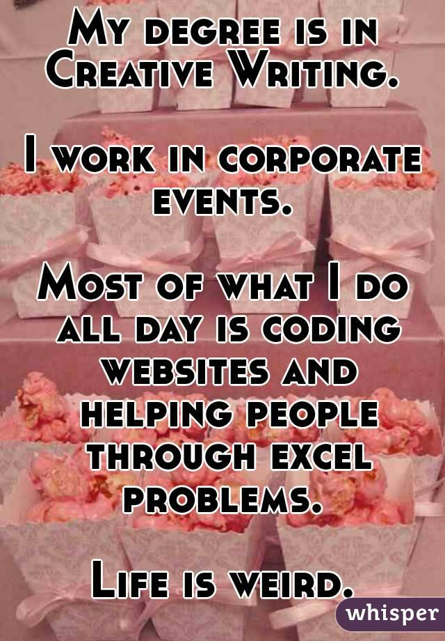 My degree is in Creative Writing.   I work in corporate events.   Most of what I do all day is coding websites and helping people through excel problems.   Life is weird.