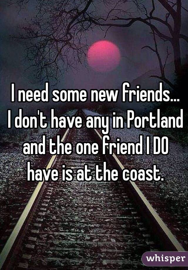 I need some new friends...  I don't have any in Portland and the one friend I DO have is at the coast.