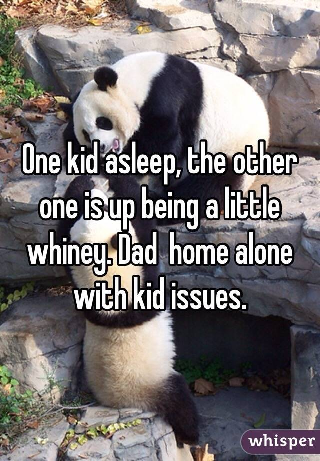 One kid asleep, the other one is up being a little whiney. Dad  home alone with kid issues.