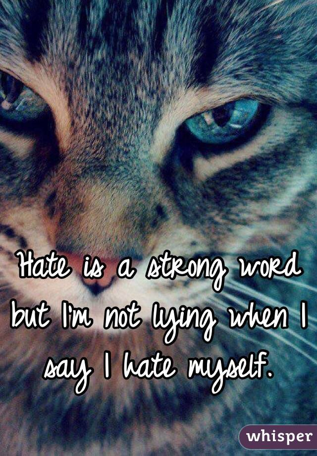 Hate is a strong word but I'm not lying when I say I hate myself.