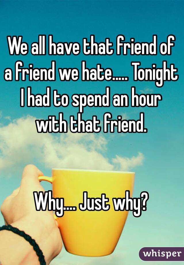 We all have that friend of a friend we hate..... Tonight I had to spend an hour with that friend.    Why.... Just why?