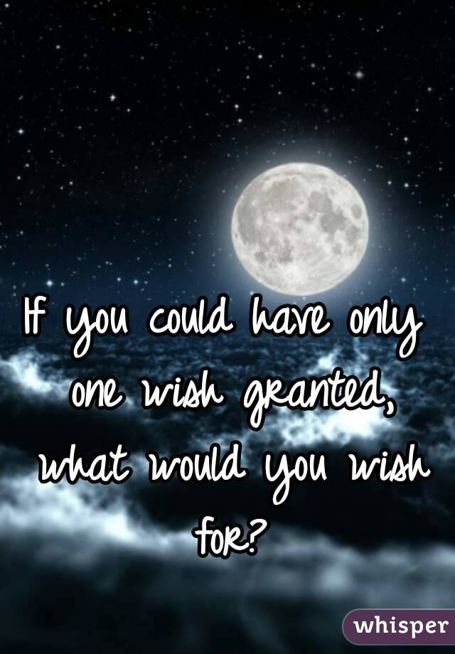 if you had one wish what would you wish for