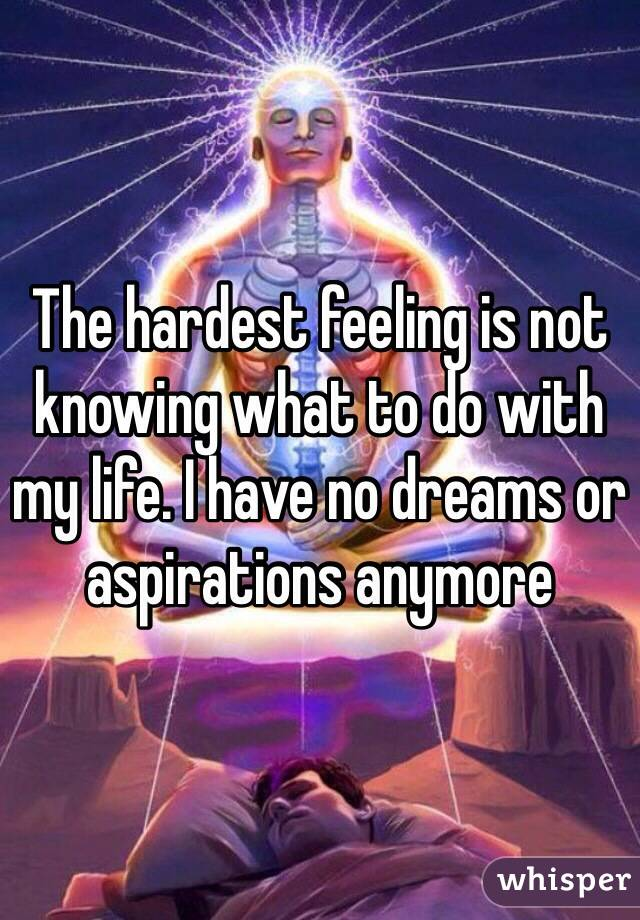 The hardest feeling is not knowing what to do with my life. I have no dreams or aspirations anymore