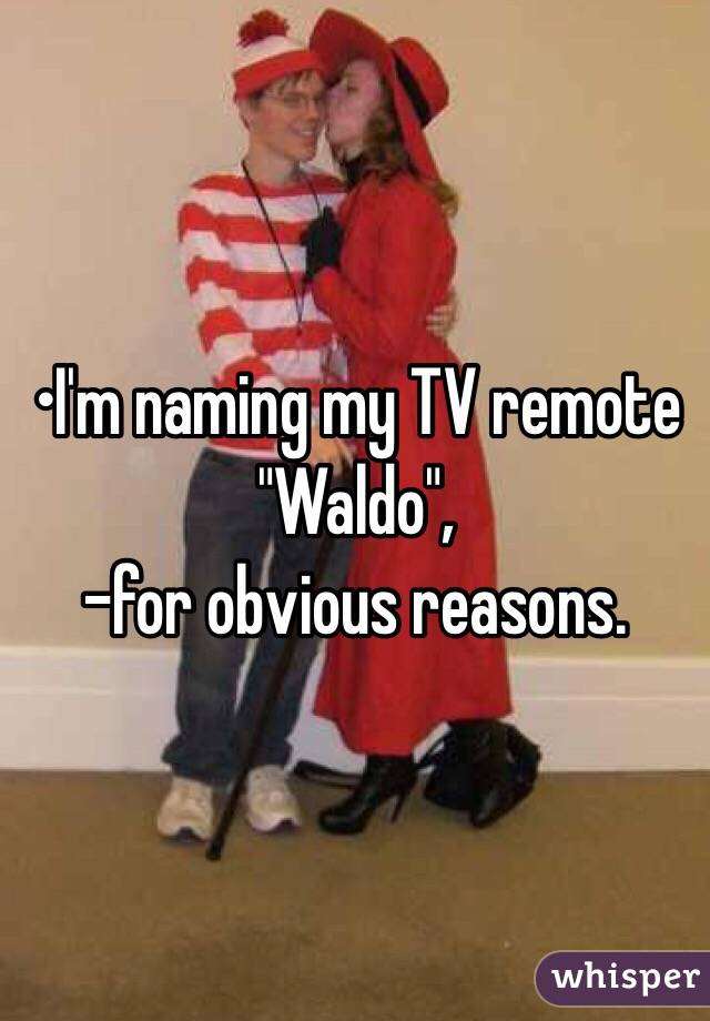"•I'm naming my TV remote  ""Waldo"", -for obvious reasons."