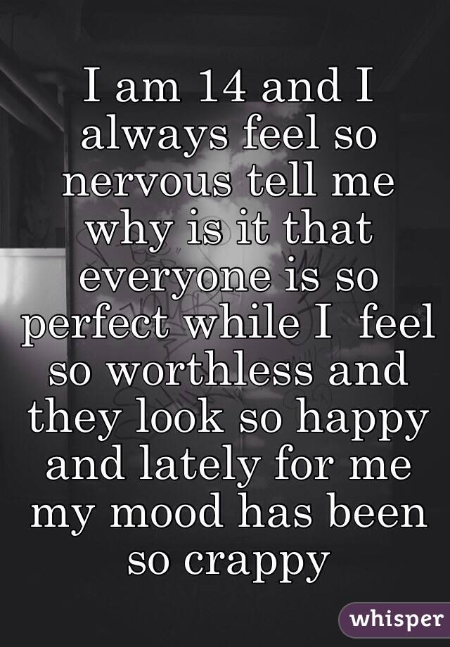 I am 14 and I always feel so nervous tell me why is it that everyone is so perfect while I  feel so worthless and they look so happy and lately for me my mood has been so crappy