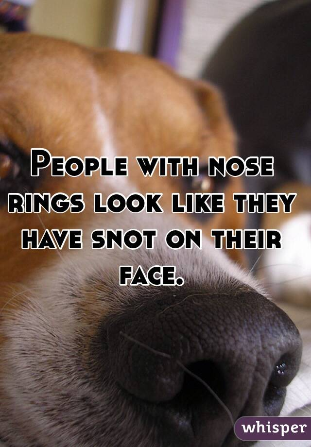 People with nose rings look like they have snot on their face.