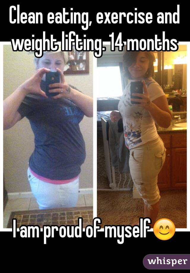 Clean eating, exercise and weight lifting. 14 months        I am proud of myself😊