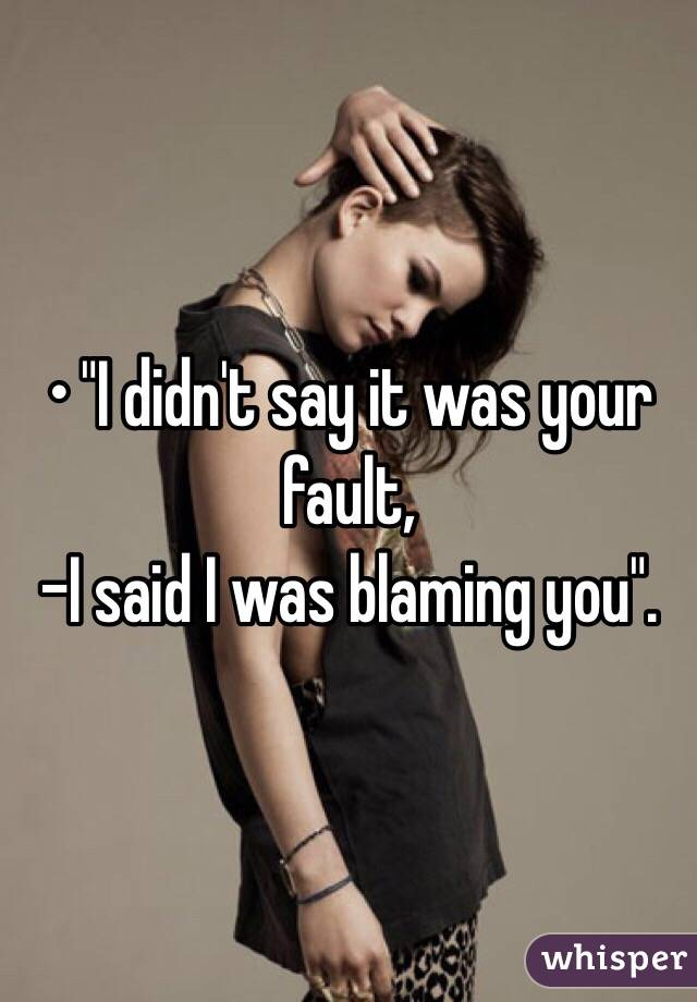 """• """"I didn't say it was your fault, -I said I was blaming you""""."""