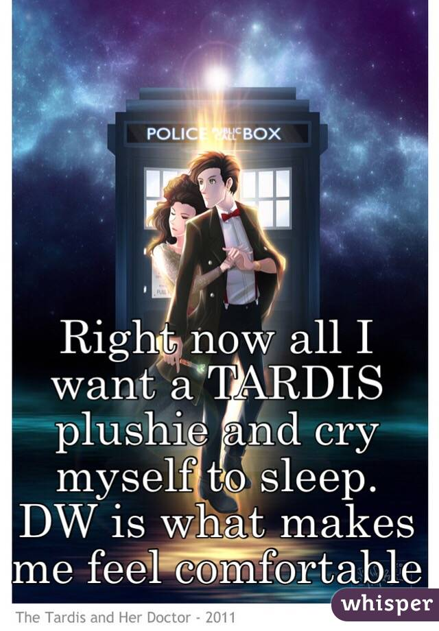 Right now all I want a TARDIS plushie and cry myself to sleep. DW is what makes me feel comfortable