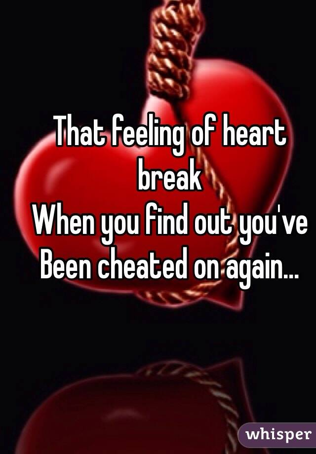 That feeling of heart break When you find out you've  Been cheated on again...