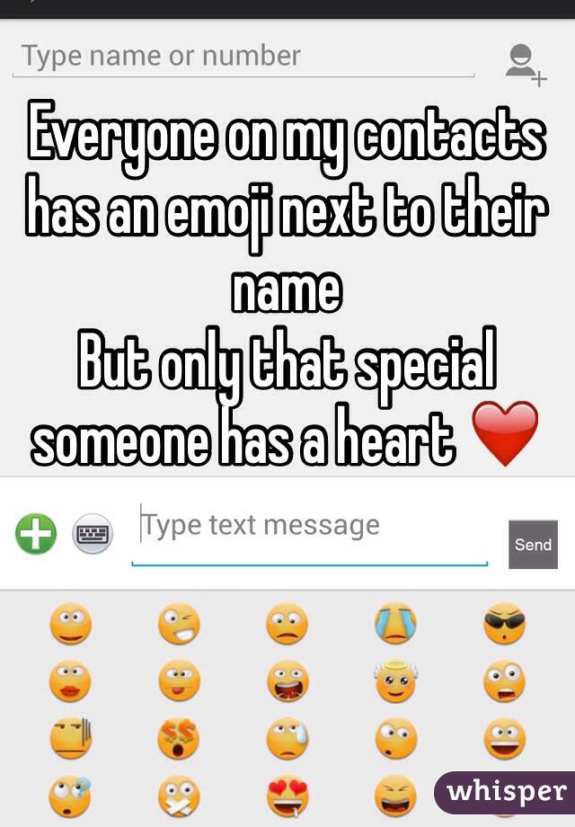 Everyone on my contacts has an emoji next to their name  But only that special someone has a heart ❤️