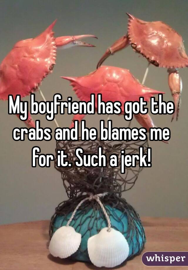 My boyfriend has got the crabs and he blames me for it. Such a jerk!