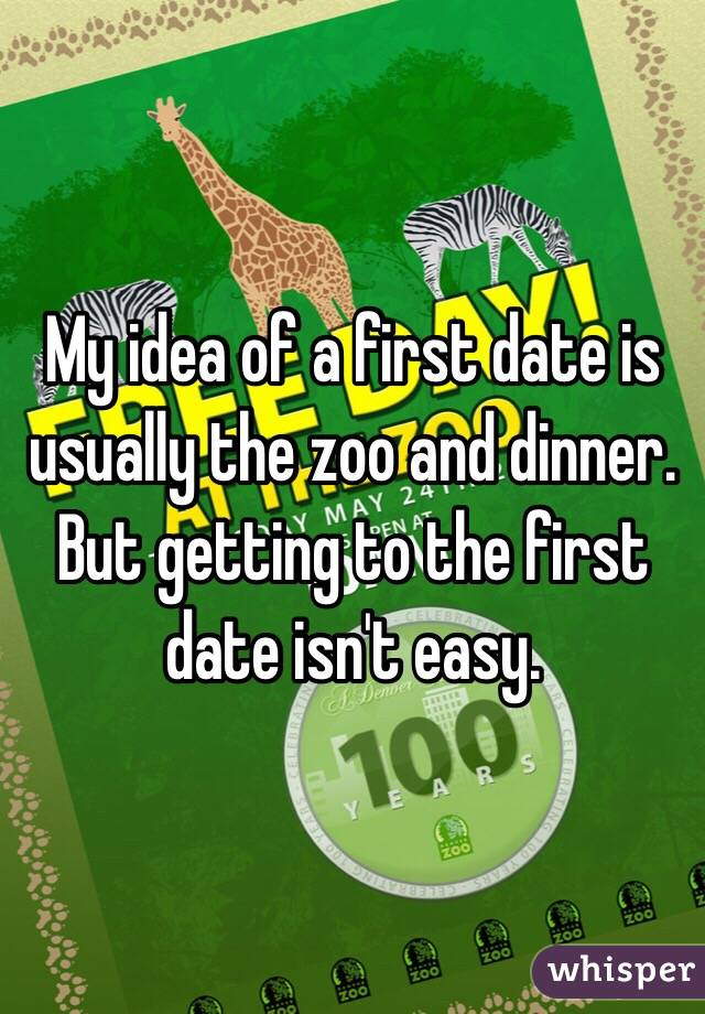 My idea of a first date is usually the zoo and dinner. But getting to the first date isn't easy.