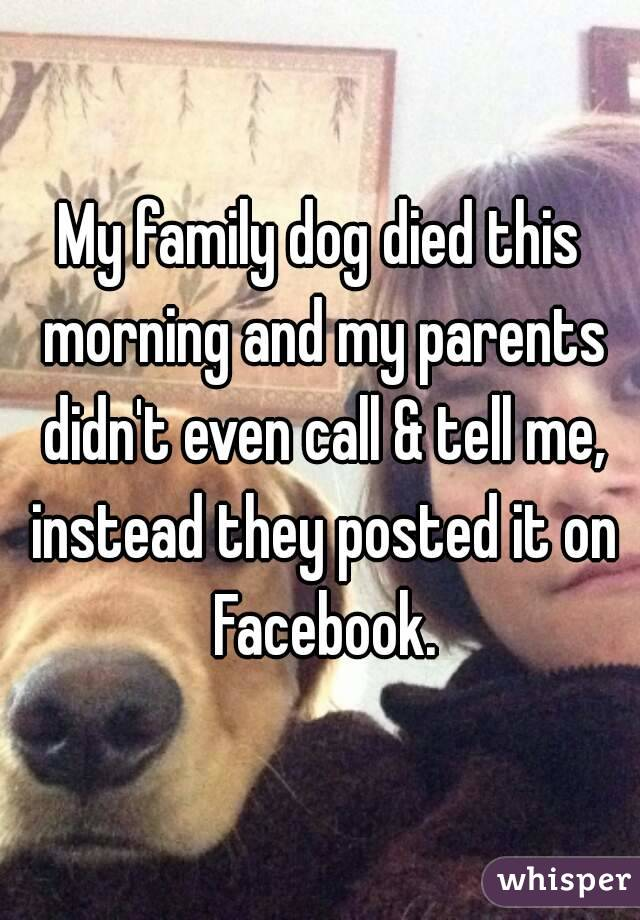 My family dog died this morning and my parents didn't even call & tell me, instead they posted it on Facebook.