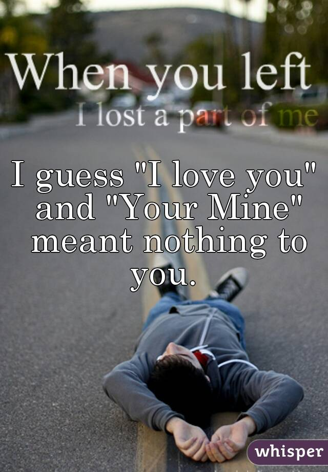 "I guess ""I love you"" and ""Your Mine"" meant nothing to you."