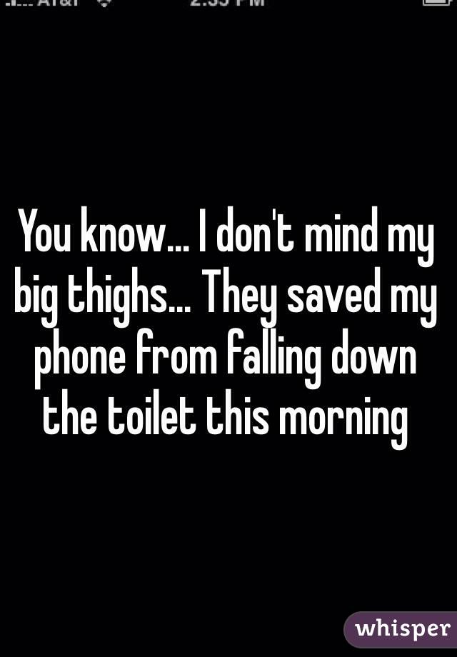 You know... I don't mind my big thighs... They saved my phone from falling down the toilet this morning
