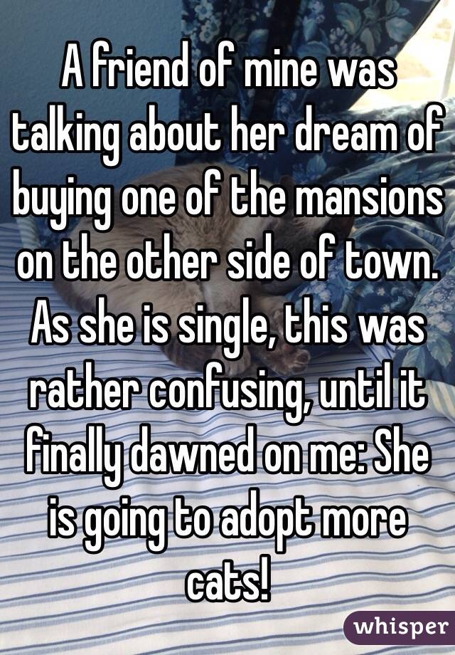 A friend of mine was talking about her dream of buying one of the mansions on the other side of town.  As she is single, this was rather confusing, until it finally dawned on me: She is going to adopt more cats!