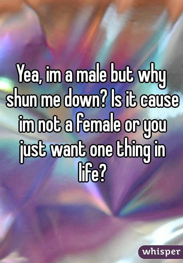 Yea, im a male but why shun me down? Is it cause im not a female or you just want one thing in life?