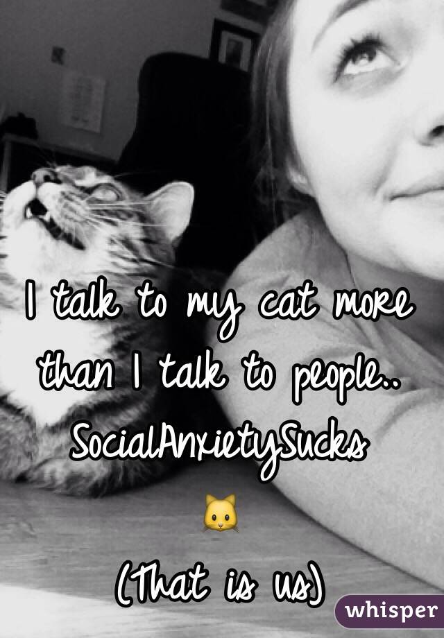 I talk to my cat more than I talk to people.. SocialAnxietySucks 🐱  (That is us)