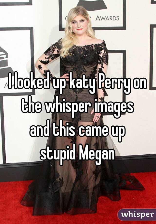 I looked up katy Perry on the whisper images  and this came up stupid Megan