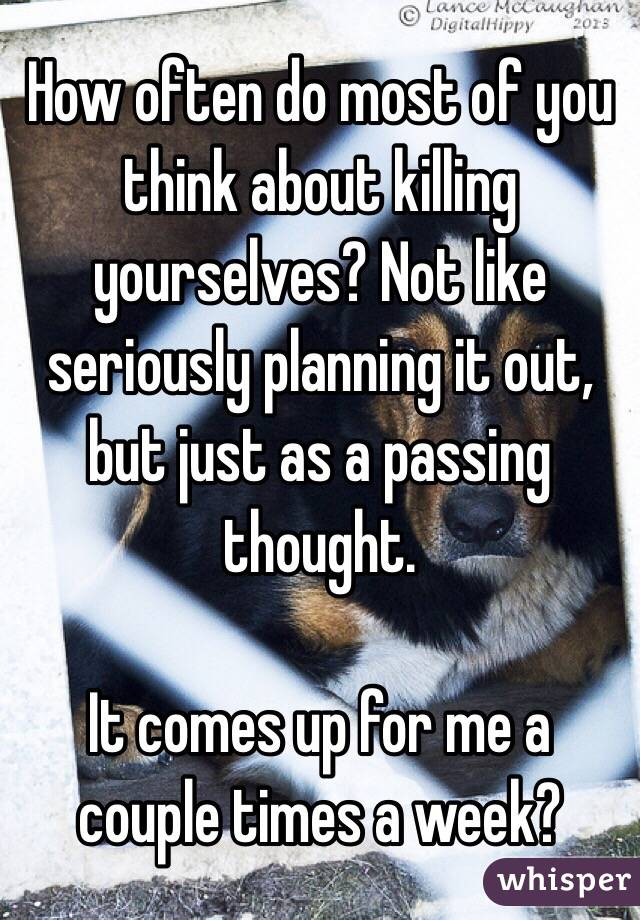 How often do most of you think about killing yourselves? Not like seriously planning it out, but just as a passing thought.  It comes up for me a couple times a week?