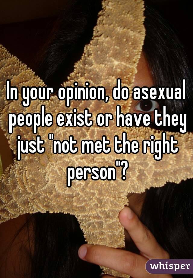 "In your opinion, do asexual people exist or have they just ""not met the right person""?"