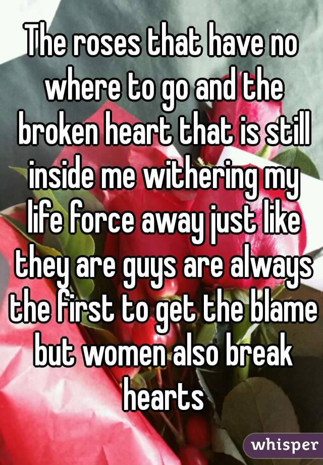 The roses that have no where to go and the broken heart that is still inside me withering my life force away just like they are guys are always the first to get the blame but women also break hearts
