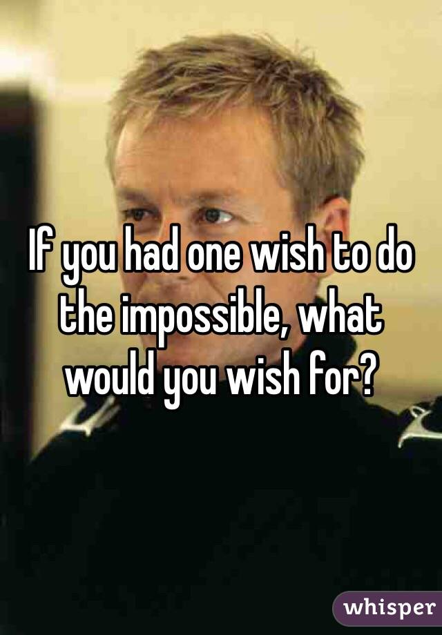 If you had one wish to do the impossible, what would you wish for?