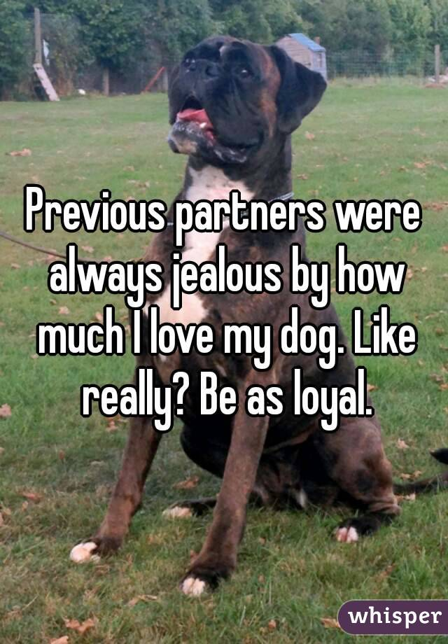 Previous partners were always jealous by how much I love my dog. Like really? Be as loyal.