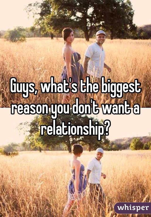 Guys, what's the biggest reason you don't want a relationship?