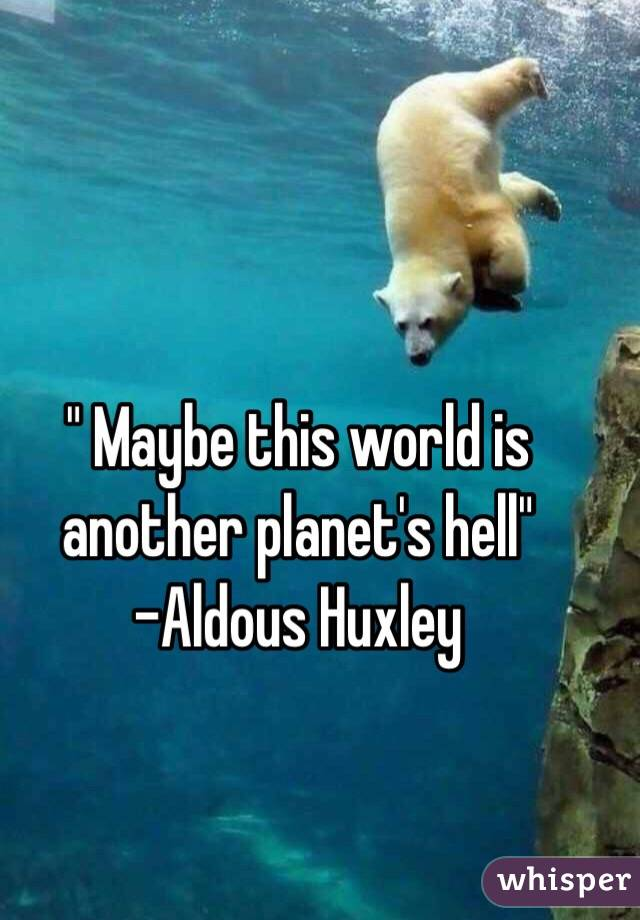 """ Maybe this world is another planet's hell""  -Aldous Huxley"