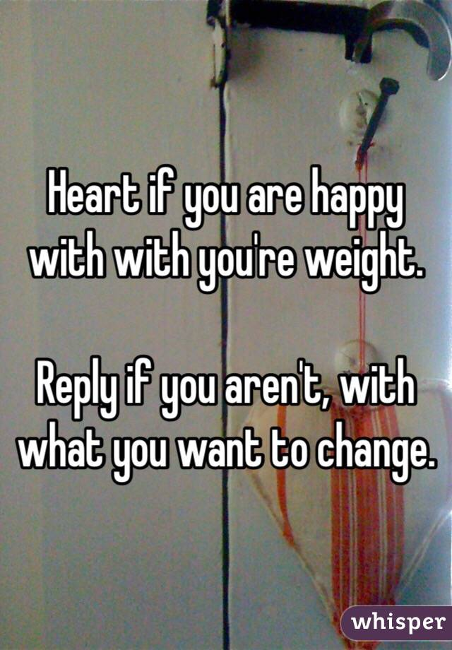 Heart if you are happy with with you're weight.  Reply if you aren't, with what you want to change.