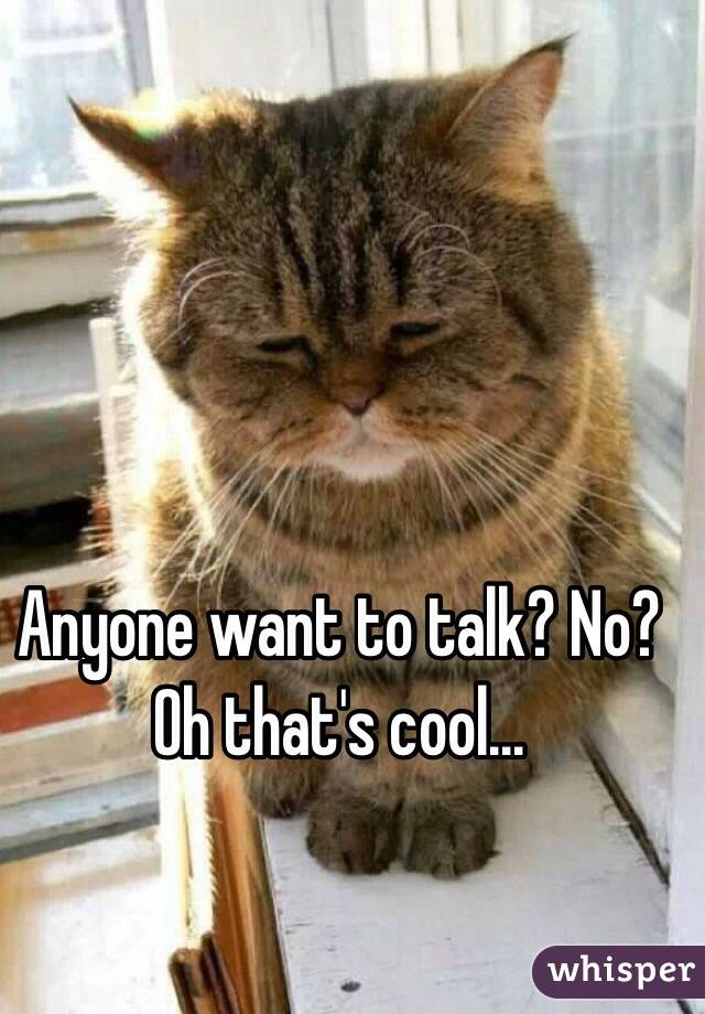 Anyone want to talk? No? Oh that's cool...