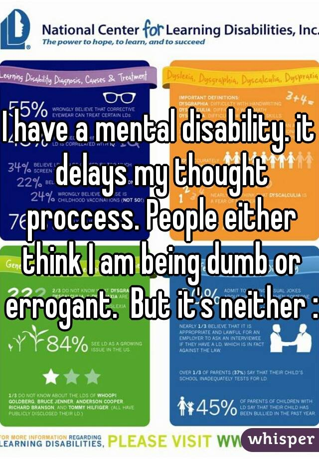 I have a mental disability. it delays my thought proccess. People either think I am being dumb or errogant.  But it's neither :(