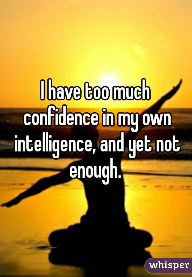 I have too much confidence in my own intelligence, and yet not enough.