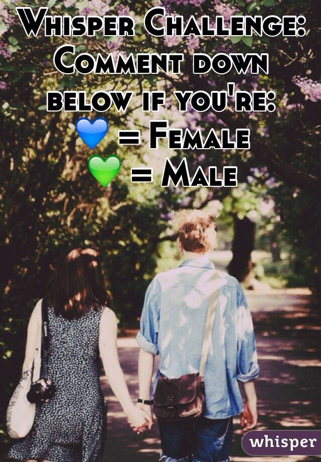 Whisper Challenge: Comment down below if you're: 💙 = Female 💚 = Male