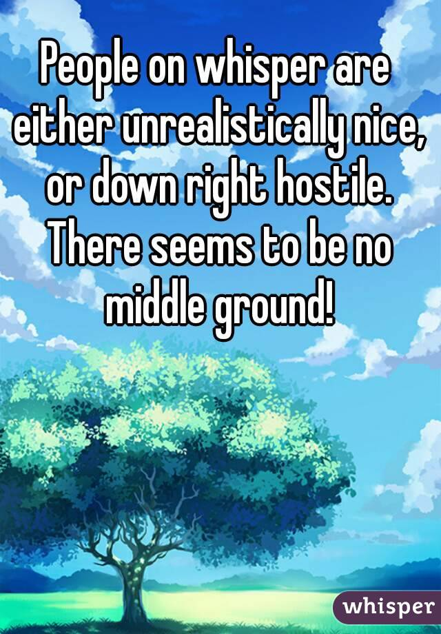People on whisper are either unrealistically nice, or down right hostile. There seems to be no middle ground!