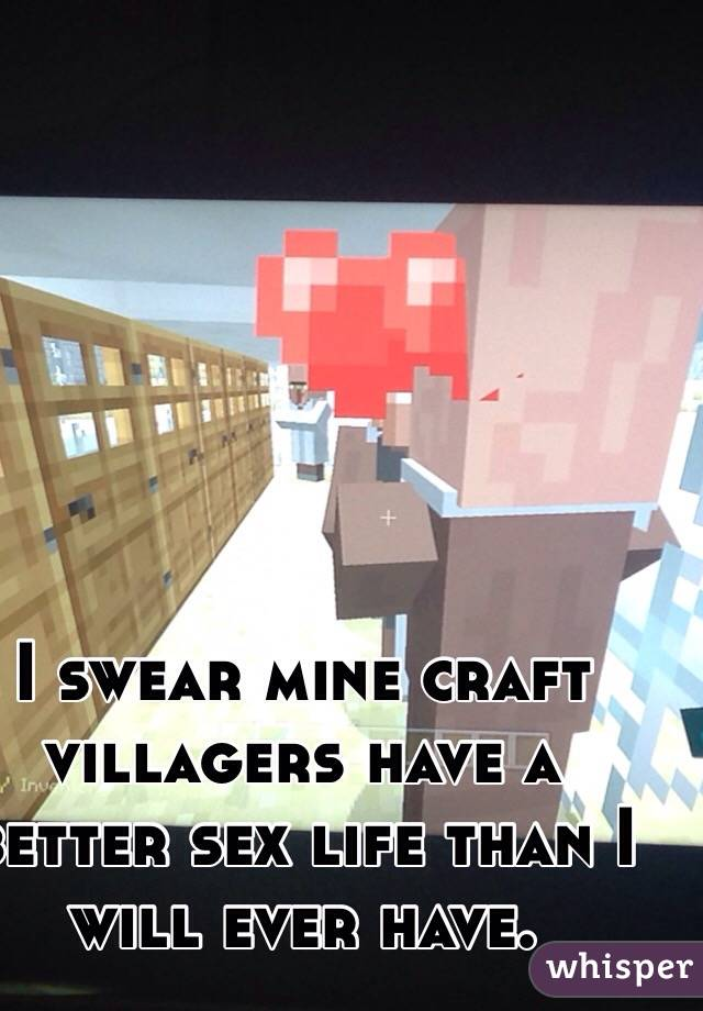 I swear mine craft villagers have a better sex life than I will ever have.